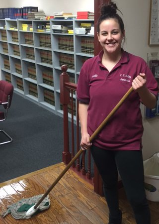 cr kelley employee providing janitorial cleaning services for business in Lehigh Valley pa